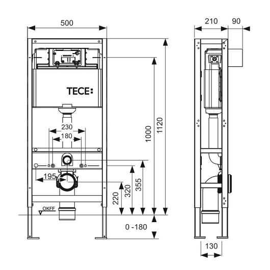 Инсталляция для подвесного унитаза TECE TECEconstruct 9300093 (9500393) отдельностоящая