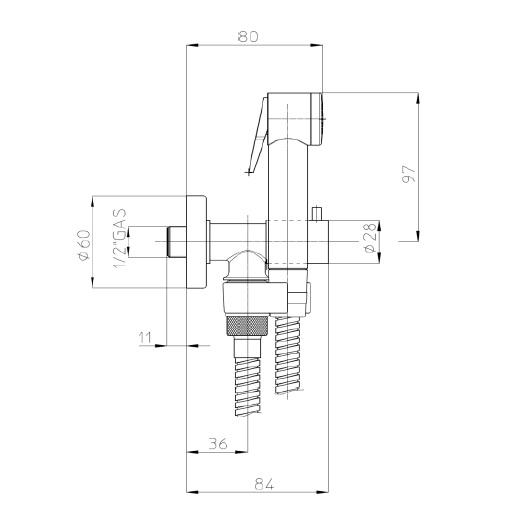 Гигиенический набор Bossini Paloma E57006 CR (хром глянцевый) с запорным вентилем