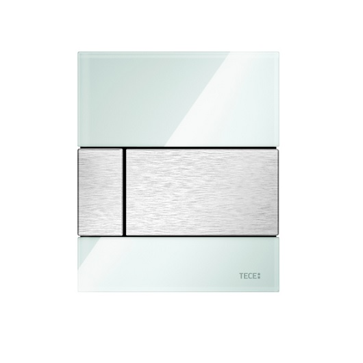 Стеклянная панель смыва TECE TECEsquare 9242801 (белое стекло/клавиша сатин) с покрытием против отпечатков пальцев