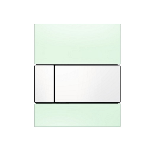 Стеклянная панель смыва TECE TECEsquare 9242803 (зеленое стекло/клавиша белая)