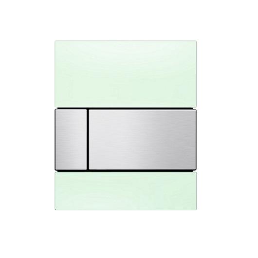Стеклянная панель смыва TECE TECEsquare 9242804 (зеленое стекло/клавиша сатин) с покрытием против отпечатков пальцев