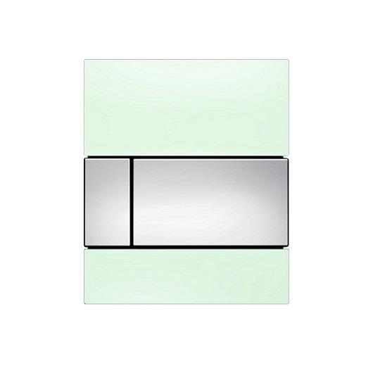 Стеклянная панель смыва TECE TECEsquare 9242805 (зеленое стекло/клавиша хром глянцевый)
