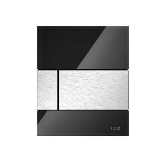 Стеклянная панель смыва TECE TECEsquare 9242806 (черное стекло/клавиша сатин) с покрытием против отпечатков пальцев