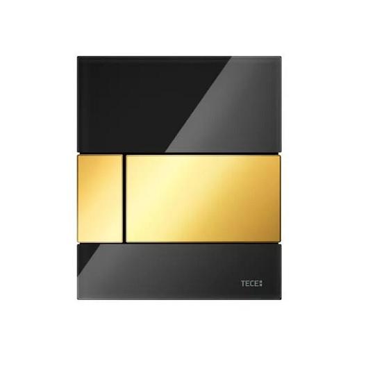 Стеклянная панель смыва TECE TECEsquare 9242808 (черное стекло/клавиша позолоченная)