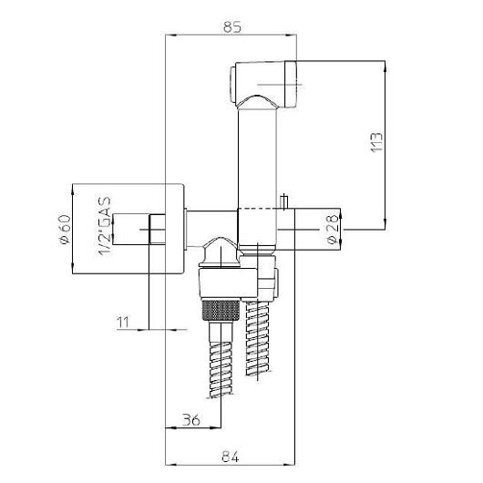 Гигиенический набор Bossini Talita Gom E57005 CR (хром глянцевый) с запорным вентилем