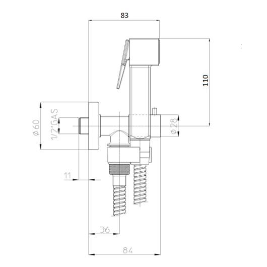 Гигиенический набор Bossini Paloma Brass E57033 CR (хром глянцевый) с запорным вентилем