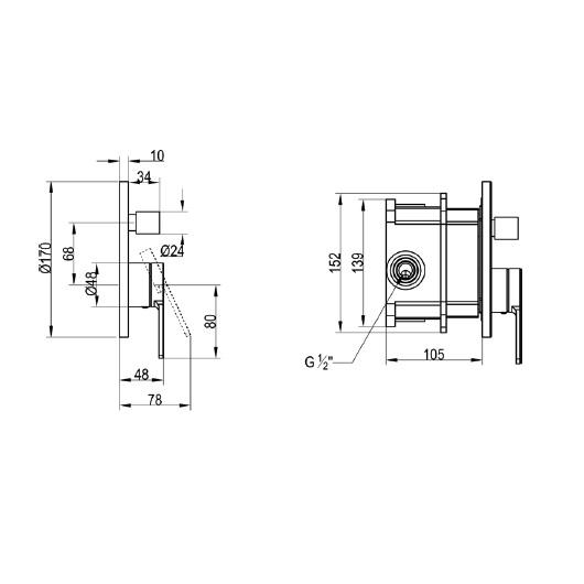 Смеситель для ванны Villeroy & Boch Architectura TVS10335300061