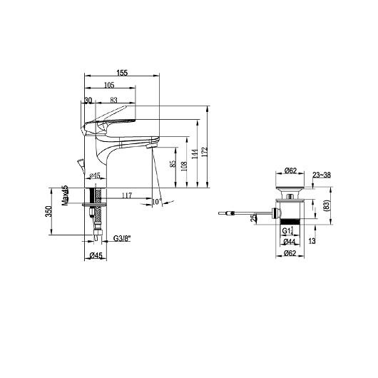 Смеситель для раковины Villeroy & Boch O.Novo Start TVW10510111061