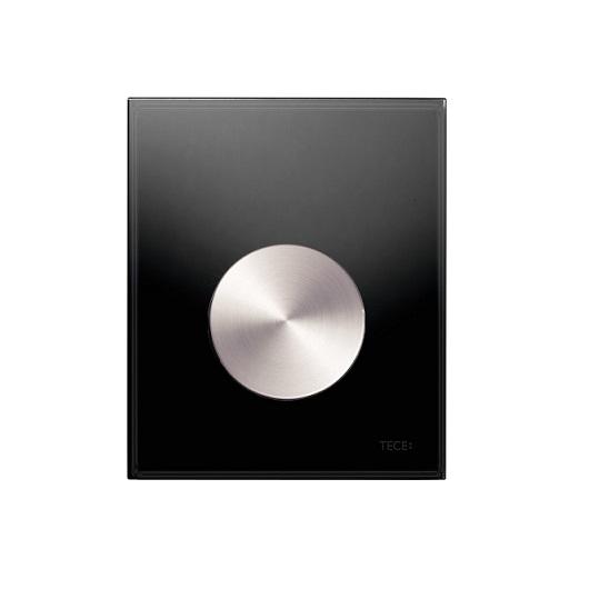 Стеклянная панель смыва TECE TECEloop 9242663 (черное стекло/клавиша сатин) с покрытием против отпечатков пальцев