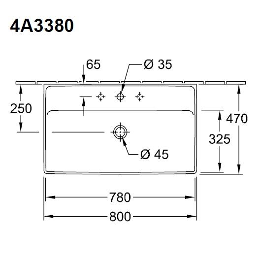 Раковина Villeroy & Boch Collaro 4A3380R1 (4A33 80 R1) (800х470 мм) CeramicPlus