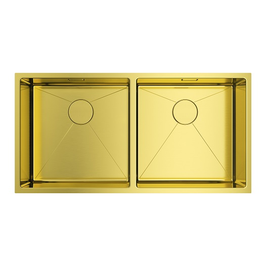 Мойка кухонная Omoikiri Taki 86-2-U/IF LG 4993792 (светлое золото, 865х440 мм)