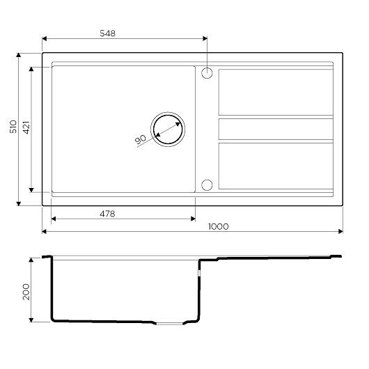 Мойка кухонная Omoikiri Kitagawa 100 GB 4993786 (графит, 1000х510 мм)