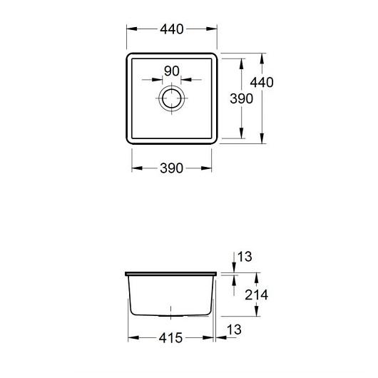 Кухонная мойка Villeroy & Boch Subway 50 SU 332501R1 (3325 01 R1) CeramicPlus (440х440 мм)
