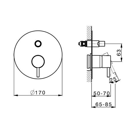 Смеситель для ванны Cisal Less New LN00210021 (хром глянцевый)