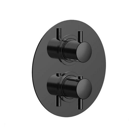 Термостат на 2 выхода Cisal Less New LN01810040 (черный матовый)