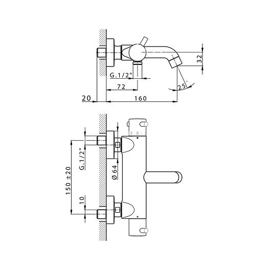 Термостат для ванны Cisal Less New LNT2301640 (черный матовый)