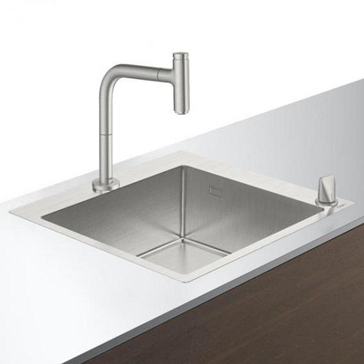 Кухонная мойка со смесителем Hansgrohe C71-F450-06 43201800 (550×500 мм)