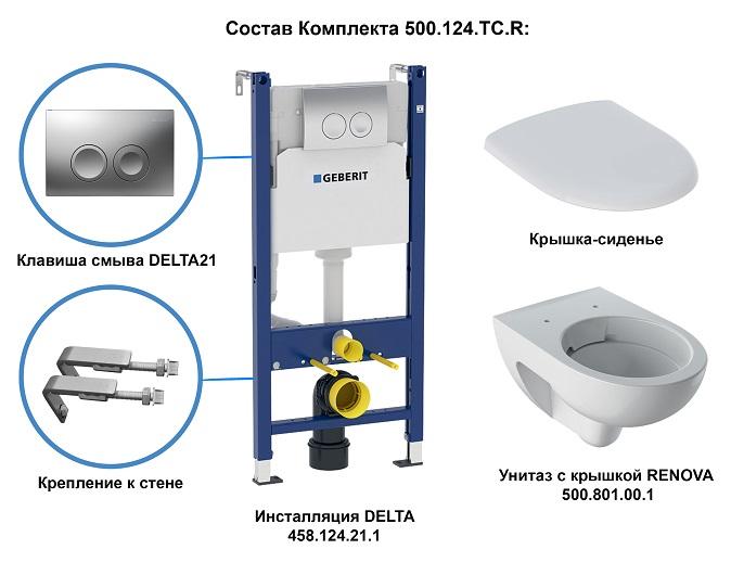 Комплект унитаз с инсталляцией Geberit Renova 500.124.TC.R