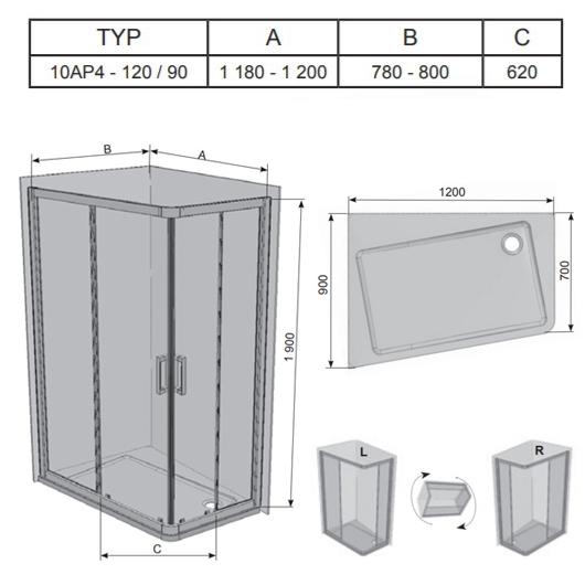Душевой угол Ravak 10° 10AP4 0ZVG70C00Z1 (1200х900 мм)