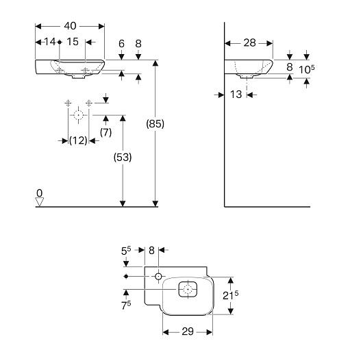 Раковина Geberit myDay 125440600 (400х280 мм)