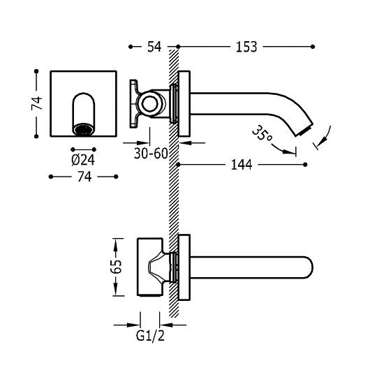 Излив для ванны TRES 21018107 (хром глянцевый)
