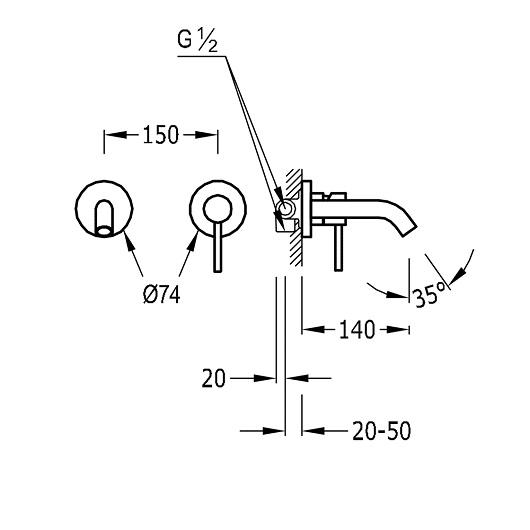 Смеситель для раковины TRES Study Exclusive 26220080BM (белый матовый)