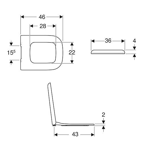 Сиденье с крышкой с механизмом плавного закрывания Geberit myDay 575410000
