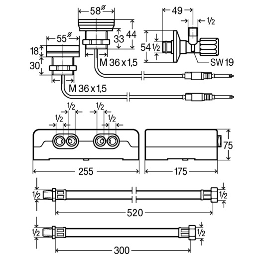 Электронный смеситель для ванны Viega Multiplex Trio E3 684655 (на 2 потребителя)