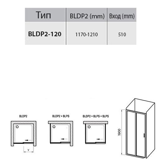 Душевая дверь Ravak Blix BLDP2-120 0PVG0C00ZG (1200х1900мм) профиль блестящий/стекло Grape
