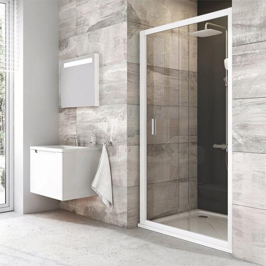 Душевая дверь Ravak Blix BLDP2-120 0PVG0100Z1 (1200х1900мм) профиль белый/стекло Transparent