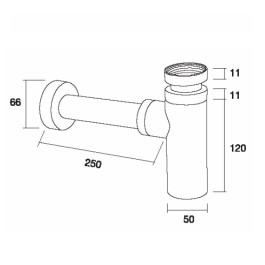 Сифон для раковины Margaroli Hi-tech 250/L бронза