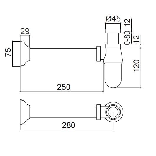 Сифон для раковины Margaroli Hi-tech Basic 259 бронза