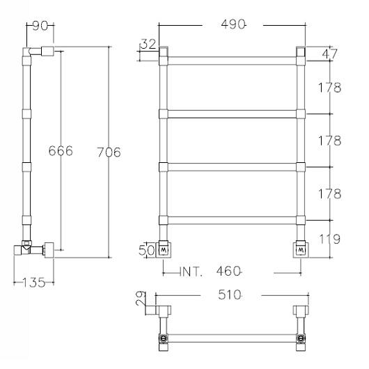 Полотенцесушитель водяной Margaroli Sole 442/TQ (706х510 мм) хром
