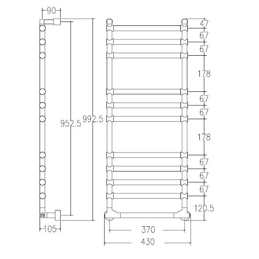 Полотенцесушитель электрический Margaroli Sole 514/11 BOX (992х430 мм) хром