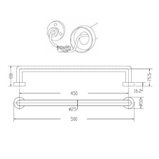 Полотенцесушитель электрический Margaroli Arcobaleno 521 (500 мм) черный матовый