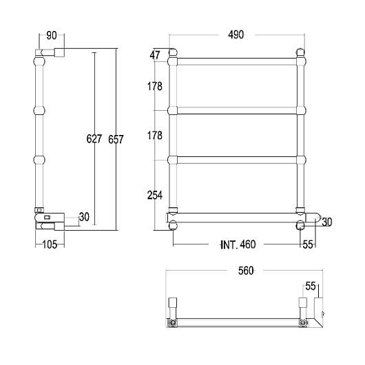 Полотенцесушитель электрический Margaroli Sole 542/TS BOX (657х560 мм) бронза