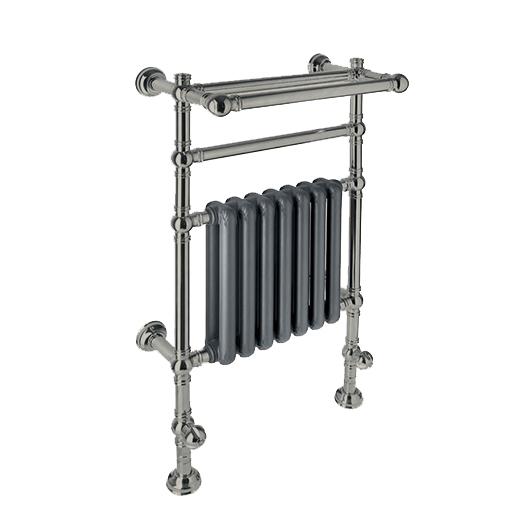 Полотенцесушитель водяной с радиатором и полкой Margaroli Armonia 9-204/D (972х625 мм) никель матовый/черный матовый RAL 9005