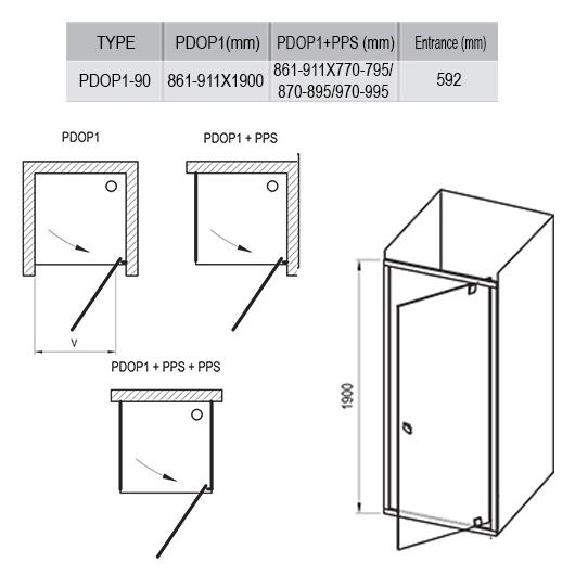 Душевая дверь Ravak Pivot PDOP1-90 03G70C00Z1 (900х1900 мм) профиль блестящий/стекло Transparent