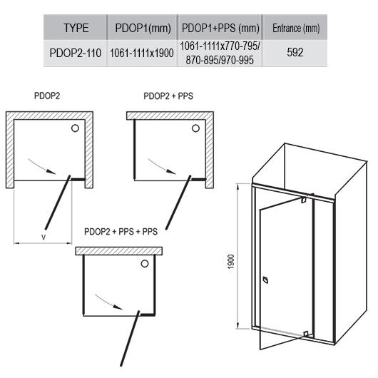 Душевая дверь Ravak Pivot PDOP2-110 03GD0U00Z1 (1100х1900 мм) профиль сатин/стекло Transparent