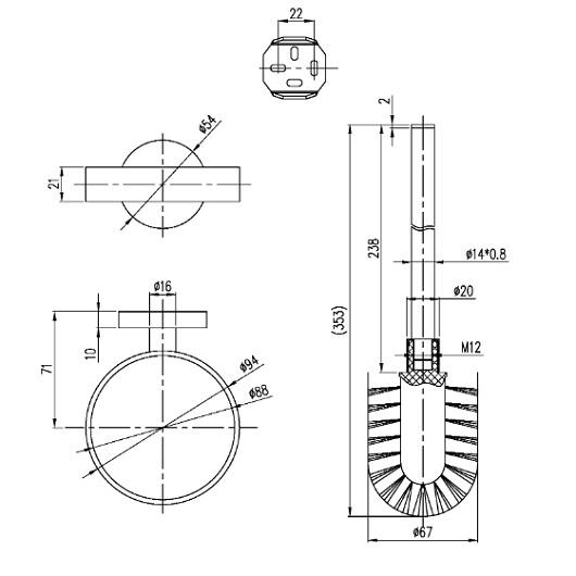 Туалетный ершик настенный Villeroy & Boch Elements-Tender TVA15101600061