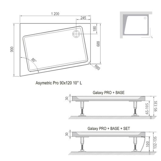 Панель для поддона Ravak Asymetric Pro 10° 120х90 Set L XA95G70101L (Левая)