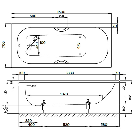 Ванна Bette Form 2941-000 PLUS AD AR (1500х700 мм) шумоизоляция, антигрязевое, антискользящее покрытие