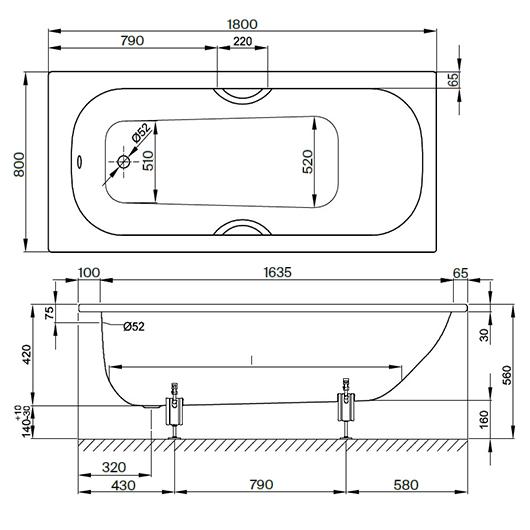 Ванна Bette Form 2950-000 AD AR (1800х800 мм) шумоизоляция, антискользящее покрытие