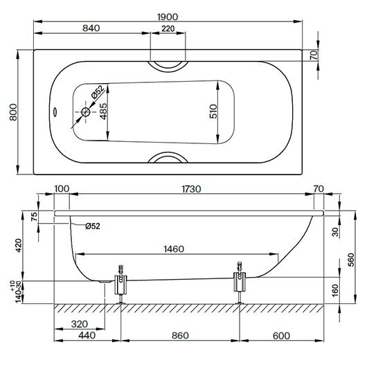 Ванна Bette Form 2951-000 AD (1900х800 мм) шумоизоляция