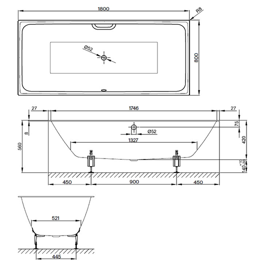 Ванна Bette Loft 3172-000 (1800х800 мм) шумоизоляция
