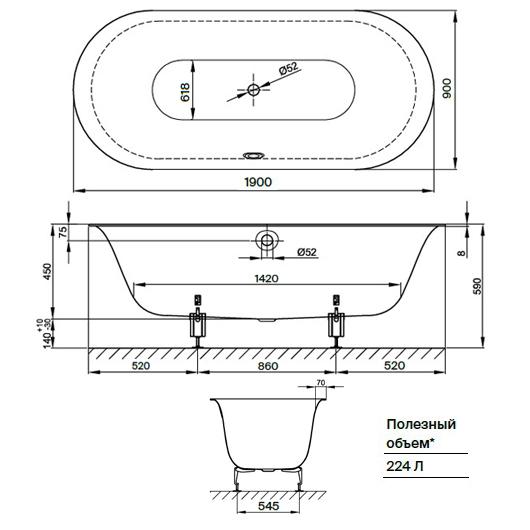 Ванна Bette Lux Oval 3467-035 (1900х900 мм) шумоизоляция