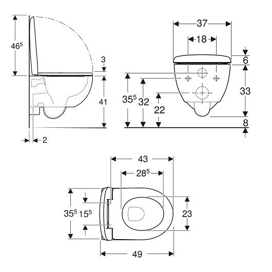 Унитаз подвесной Geberit Renova Comfort Rimfree 500.803.00.1 (безободковый)