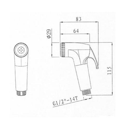 Гигиенический набор Villeroy & Boch Universal TVD00060700261 (шланг 1500 мм)