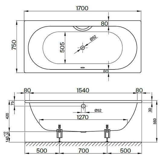 Ванна Bette Starlet 1380-000 (1700х750 мм) шумоизоляция
