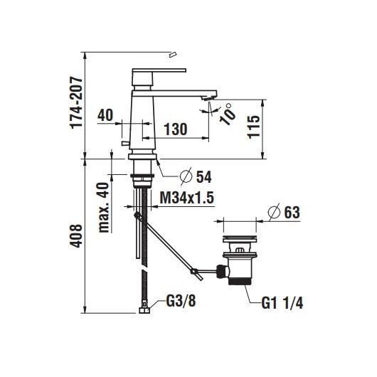 Смеситель для раковины Laufen New Classic 1185.1 (3.1185.1.004.121.1)